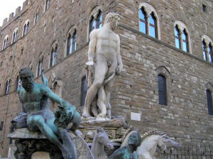 Biancone, Piazza della Signoria, Florencie, Itálie. Author and Copyright Marco Ramerini