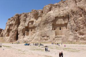 The tombs of Darius II, Artaxerxes I, and Darius I, Naqsh-e Rostam, Iran. Author and Copyright Marco Ramerini