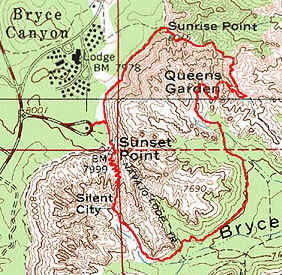 Attractions of Bryce Canyon. Map of Queen's Garden-Navajo Loop Trail