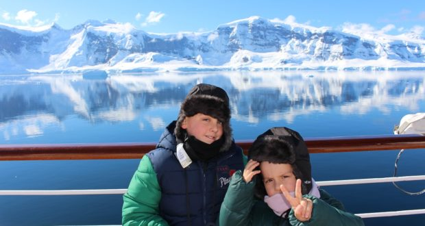 Andrea and Mattia in Antarctica. Author and Copyright Marco Ramerini