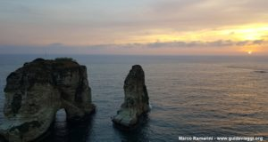 Sunset on the Pigeon Rocks, Beirut, Lebanon. Author and Copyright Marco Ramerini