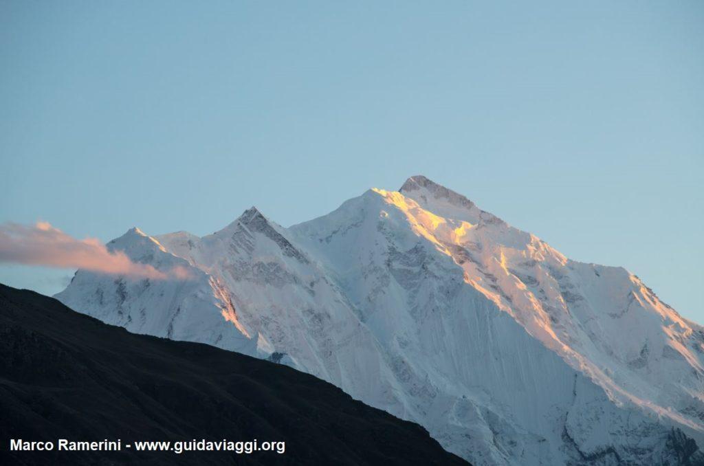 Mount Rakaposhi at sunset, Karakoram, Pakistan. Author and Copyright Marco Ramerini