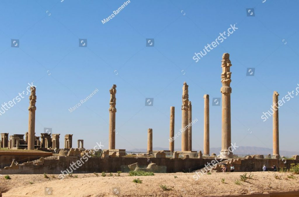 Colonnade of Persepolis. Ruins of the ceremonial capital of the Persian Empire (Achaemenid Empire), Iran. Author and Copyright Marco Ramerini