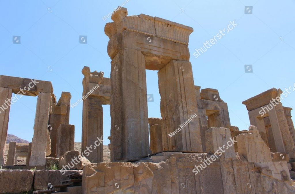 Persepolis, Iran. The Tachara (Palace of Darius the Great). Ruins of the ceremonial capital of the Achaemenid Empire. Author and copyright Marco Ramerini.