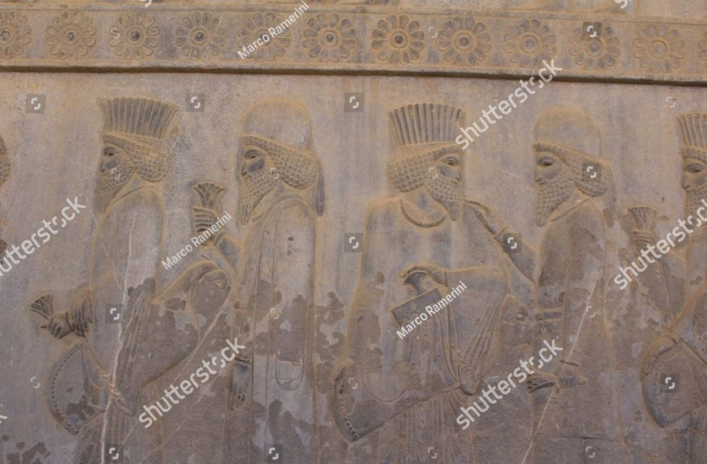 Persepolis, Iran. A bas-relief of the Apadana. Ruins of the ceremonial capital of the Persian Empire (Achaemenid Empire). Author and copyright Marco Ramerini.
