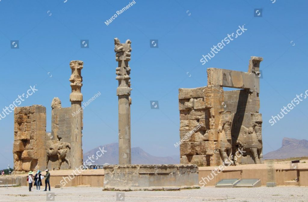 Persepolis. Gate of all Nations. Ruins of the ceremonial capital of the Persian Empire (Achaemenid Empire), Iran. Author and Copyright Marco Ramerini.