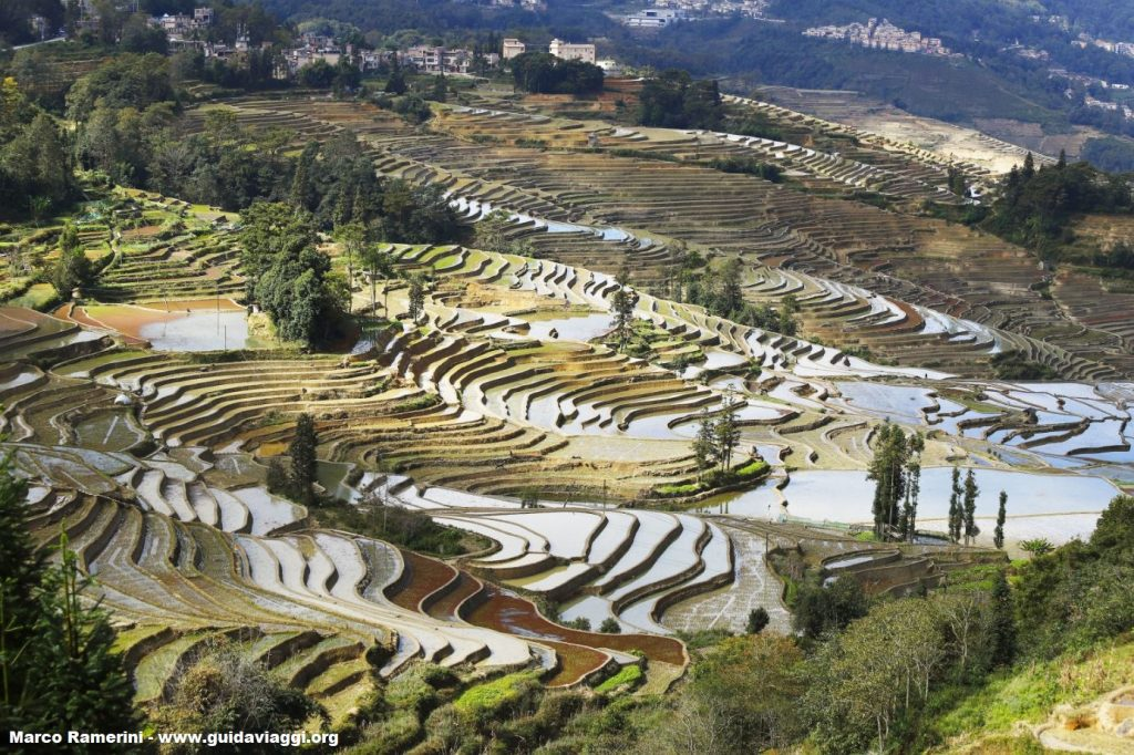 The natural landscapes are among the tourist attractions of Yunnan, here the Rice fields, Yuanyang, Yunnan, China. Author and Copyright Marco Ramerini