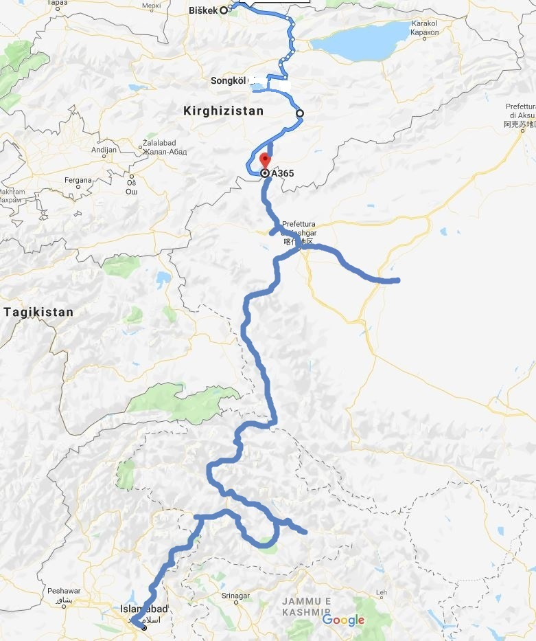 Travel in the mountains of Central Asia. Map of the itinerary