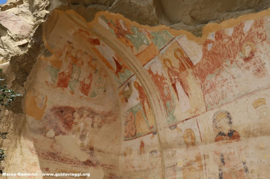 Frescoes in the caves, Georgia. Author and Copyright Marco Ramerini.