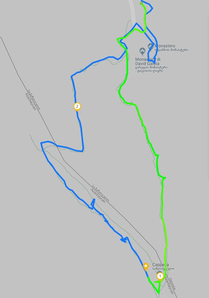 Map of the path to the caves of Davit Gareja