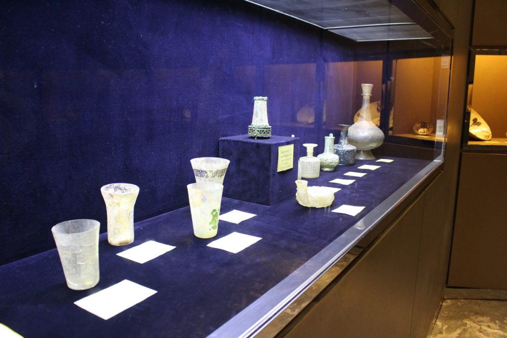 Glass objects, Glassware and Ceramic Museum of Iran, Tehran, Iran. Author and Copyright Marco Ramerini