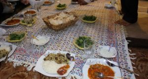 Typical Persian dinner. Author and Copyright Marco Ramerini
