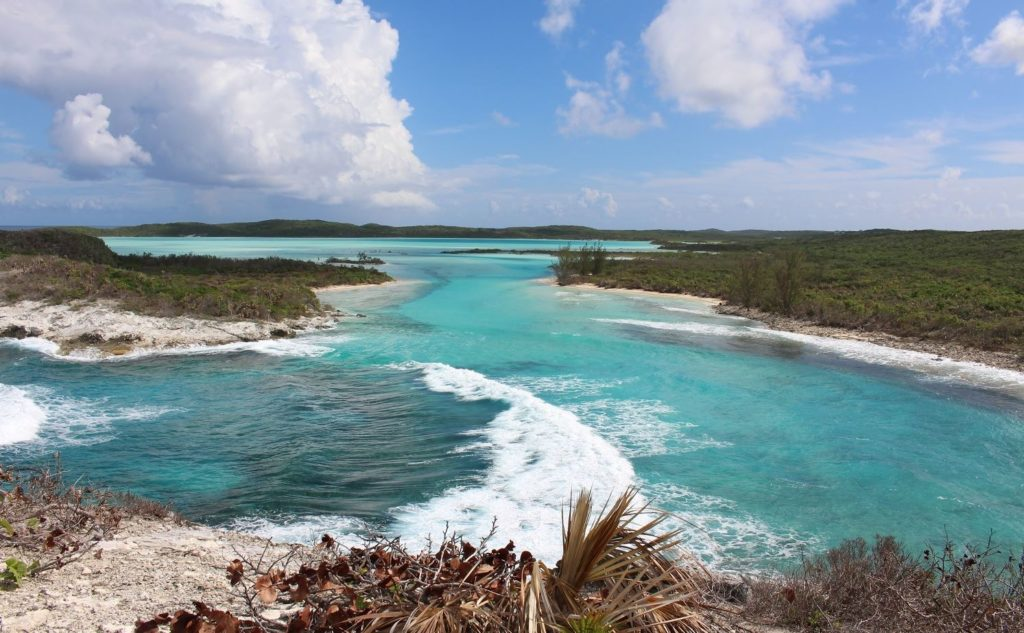 View from the Columbus Monument, Long Island, Bahamas. Author and copyright Marco Ramerini.