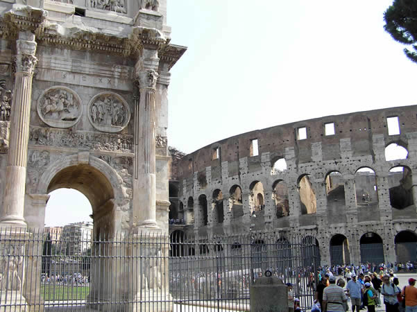 The Arch of Constantine and the Colosseum, Rome, Italy. Author and Copyright Marco Ramerini