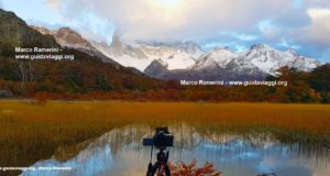 Photographing Mount Fitz Roy from the Capri Lagoon, Patagonia, Argentina. Author and Copyright Marco Ramerini.