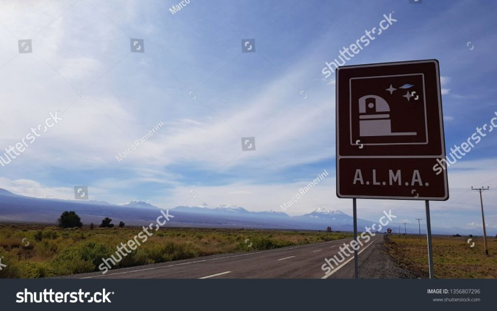 The road sign indicating the main entrance to the Atacama Large Millimeter Array (ALMA), Atacama Desert, Chile. Author and Copyright Marco Ramerini