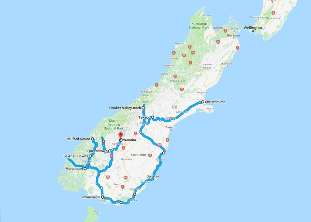 Map of the photographic tour to New Zealand