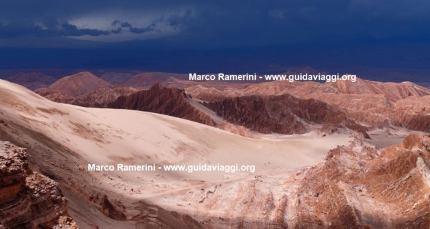Storm clouds over the Atacama desert landscape. Valle di Marte (Valle de Marte) and the Cordillera de la Sal, Atacama Desert, Chile. Author and Copyright Marco Ramerini