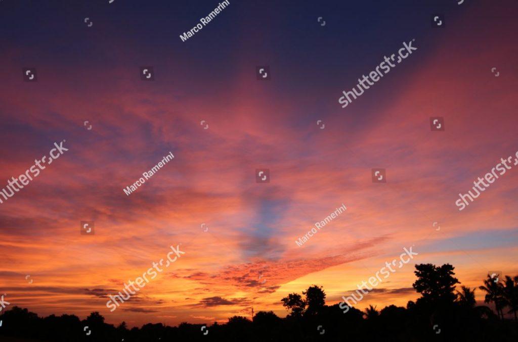 Tropical sunset at Fiji. A beautiful sunset seen from the island of Viti Levu, Fiji