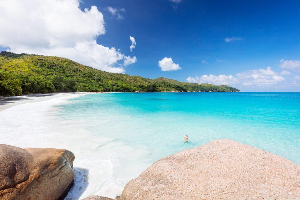 Anse Lazio, Praslin, Seychellen. Credit Torsten Dickmann. Seychelles Tourism Board Media Hub