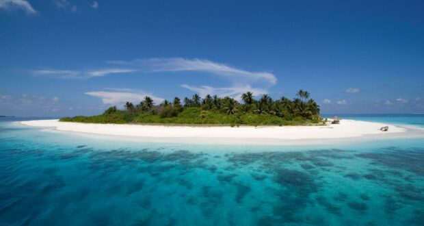 An island in the Maldives. Credit Maldives Tourism.