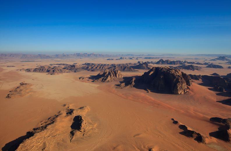 Wadi Rum from above, Jordan. Credit Jordan Tourism Board